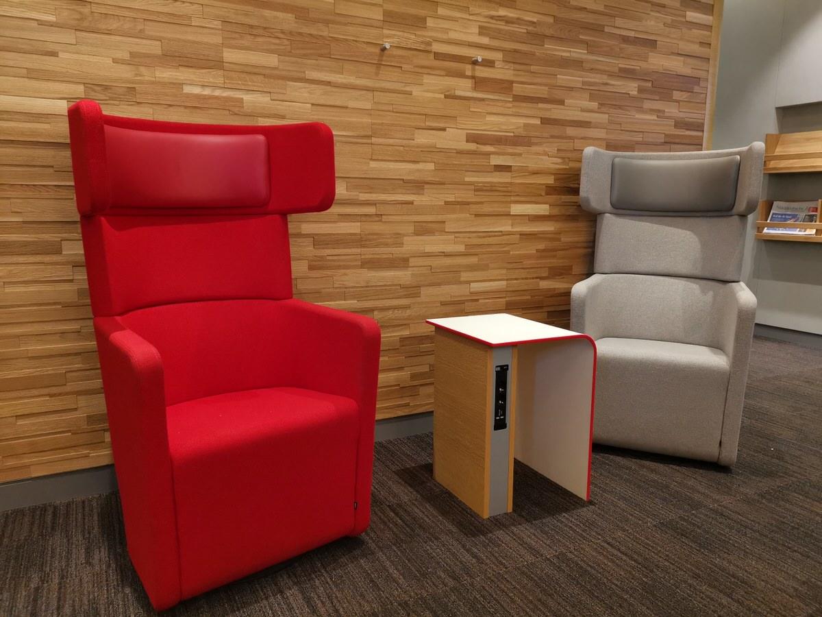 Die Sessel in der DB Lounge Leipzig von näher