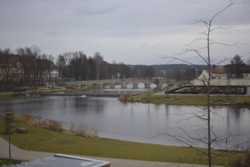 Blick auf die Fischhofbrücke aus meinem Fenster im Hotel Seenario