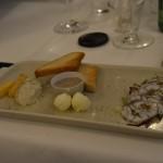Aalcarpaccio, Aal-Leberpastete, Mehlklöße vom Stockfisch