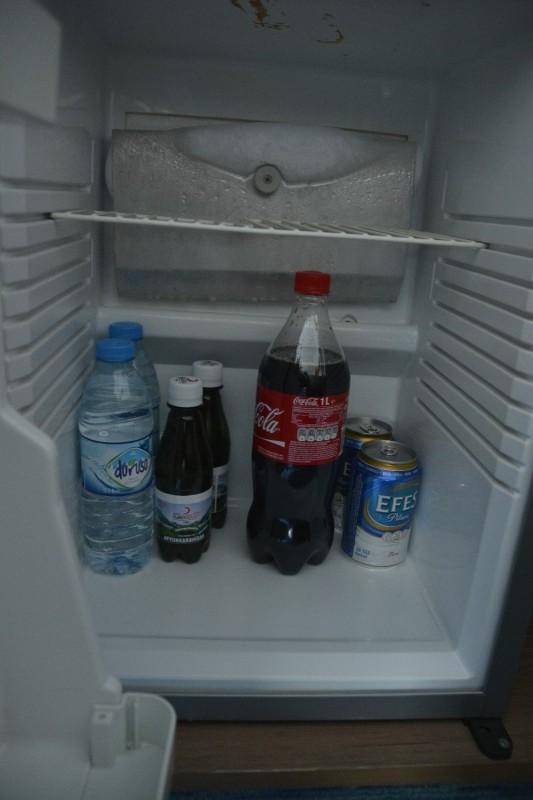Blick in die Minibar - 1 l Coca Cola, 2 Dosen Efes, 2 Mineralwasser mit Kohlensäure (0,25 l) und 2 ohne (0,5 l) im Hotel Concorde de Luxe Lara