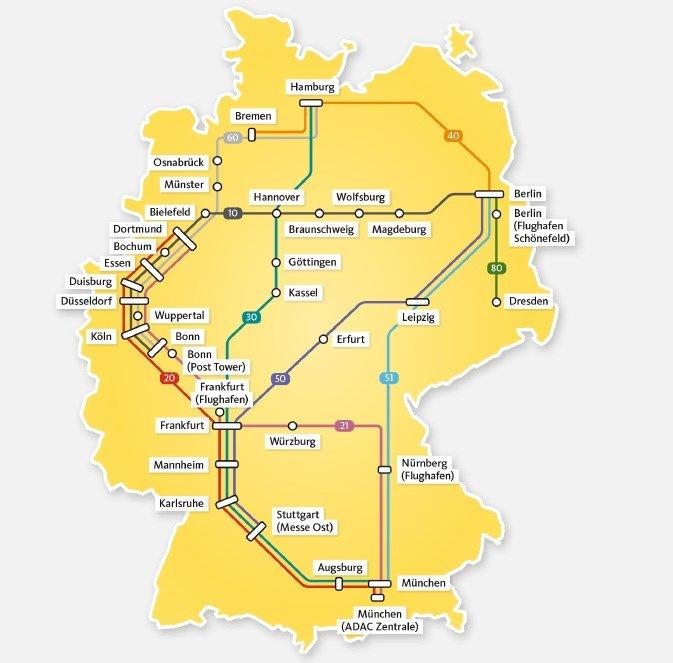 Streckennetz des ADAC Postbus