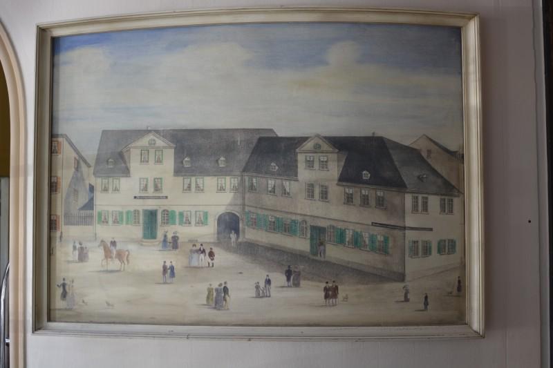 Historisches Bild vom Schwarzen Bock Wiesbaden in der Lobby