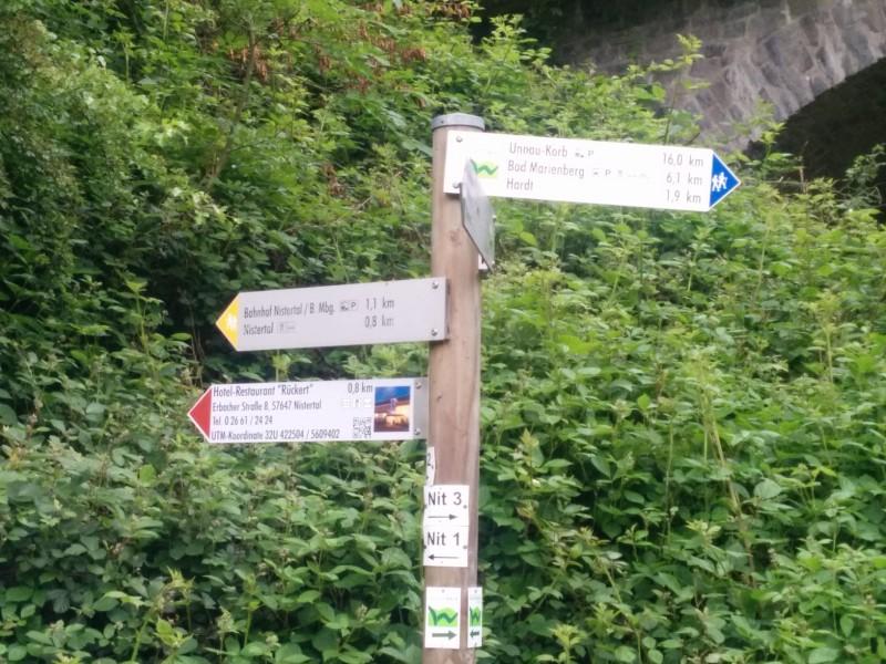 """Wegweiser Westerwaldsteig - grünes """"W"""" auf weissem Grund"""