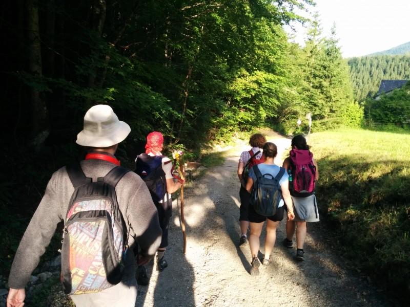 Auf breitem Wege geht es los Richtung Joachimsberg - Pilgern auf der Via Sacra