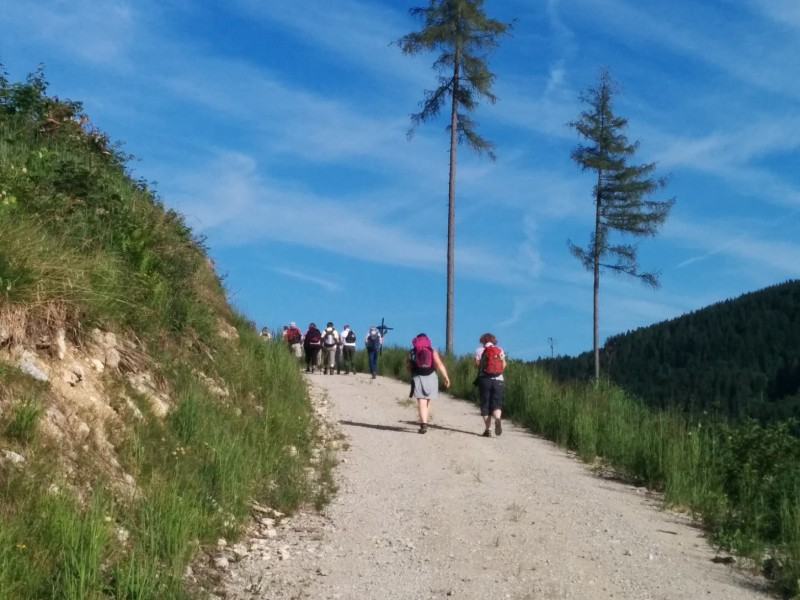 Strahlendblauer Himmel auf unserer letzten Etappe nach Mariazell auf der Via Sacra