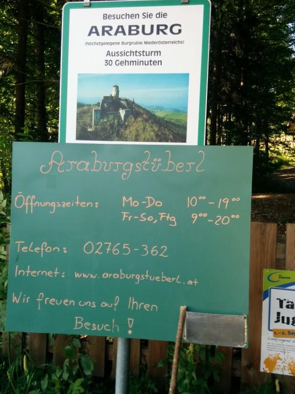 Schild auf Parkplatz unterhalb der Araburg - Pilgern auf der Via Sacra