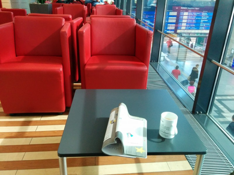 Mein Platz an diesem Tag in der Mannheimer Bahn Lounge