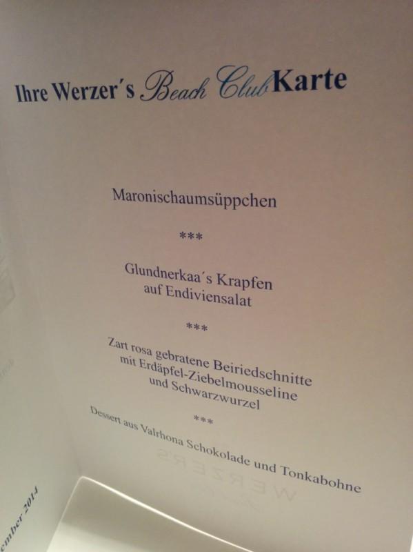 Das Menü am ersten Abend im Beach Club des Werzer's Badehauses in Pörtschach am Wörthersee
