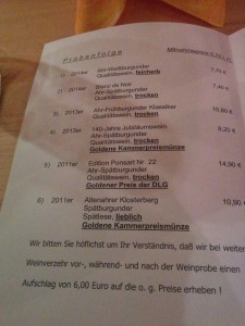 Der Plan zur Weinprobe in der Winzergenossenschaft Mayschoß-Altenahr