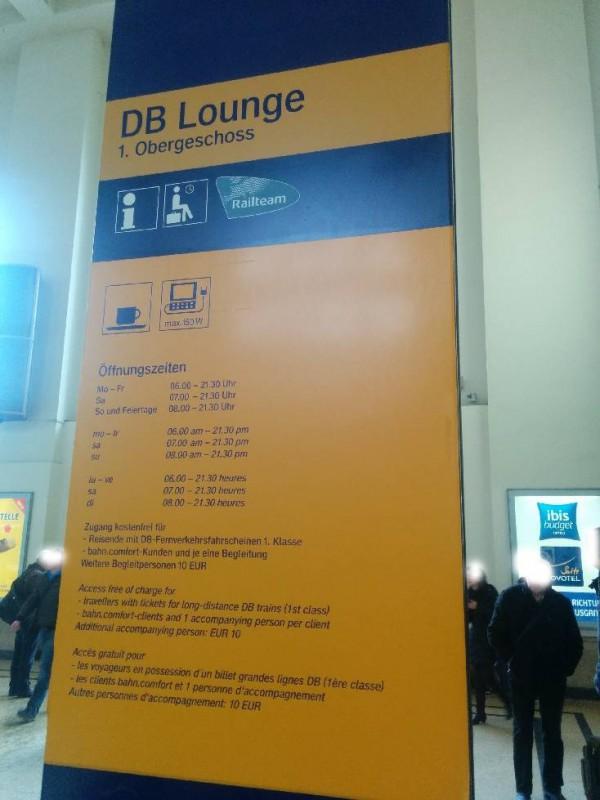 Öffnungszeiten der DB Bahn Lounge in Hannover Hauptbahnhof