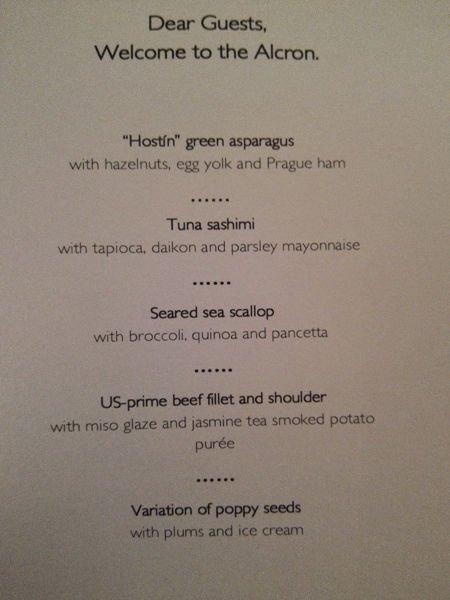 Unser Menü an diesem Abend im The Alcron Restaurant im Radisson Blu Prag