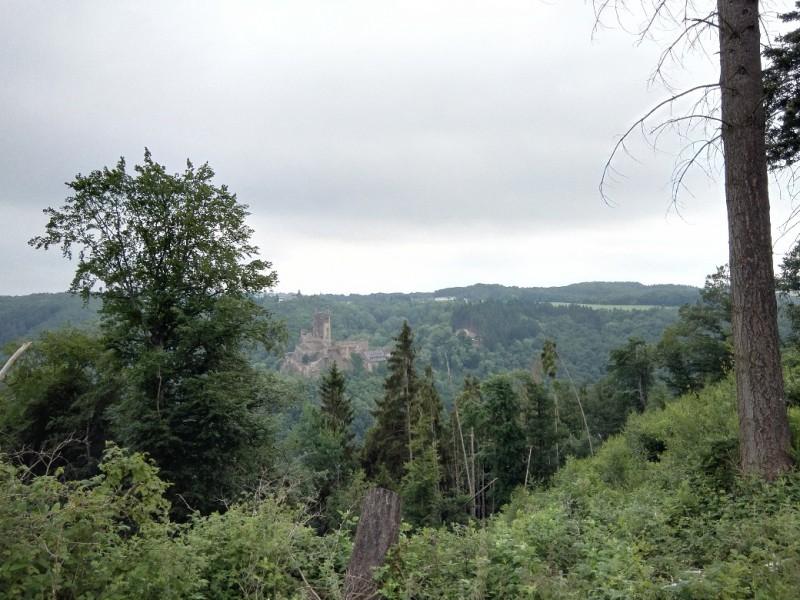 Blick zur Ehrenburg auf dem Saar-Hunsrück.Steig kurz nach Morshausen
