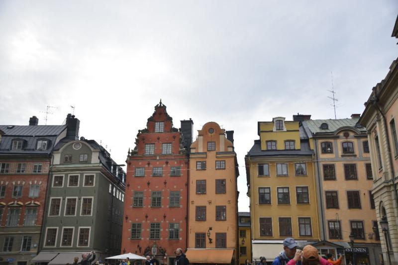 Häuser auf dem Marktplatz Stortorget Stockholm