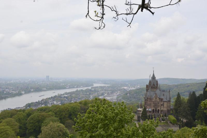 Blick hinunter auf dem Weg zur Burgruine Drachenfels - da steht das Schloss Drachenburg und dahinter und darunter liegt der Rhein und Bonn