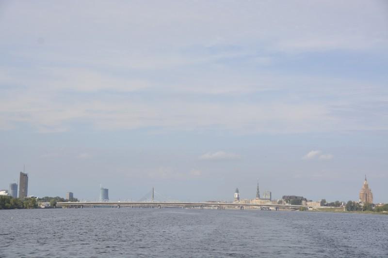 Panorama von Riga vom Boot aus