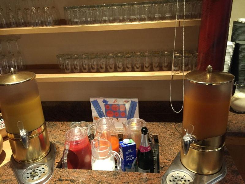 Säfte beim Frühstück im Hotel Schlosskrone Füssen