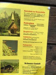Fahrplan mit Preisen zur/von der Kenzenhütte