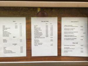 Speise- und Getränkekarte der Kenzenhütte