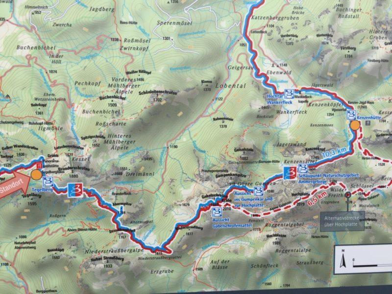 Links der Start, rechts das Ziel. Dazwischen einige Höhenmeter vom Tegelberghaus zur Kenzenhütte auf der Wandertrilogie...