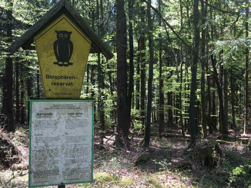 Kennzeichnung der Kernzone im Biosphärenreservat Vessertal-Thüringer Wald
