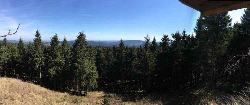 Hier ist das grün Thüringens schon schön zu sehen in diesem Panorama auf dem Gipfelwanderweg