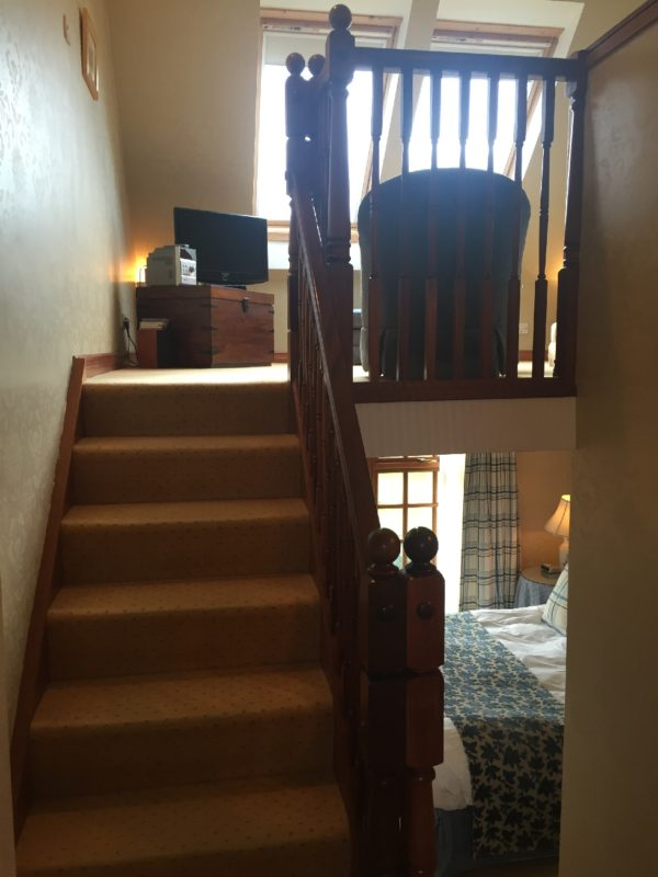 Mein erster Blick in Suite nach dem Öffnen der Türe im Peat Inn in Fife / Schottland