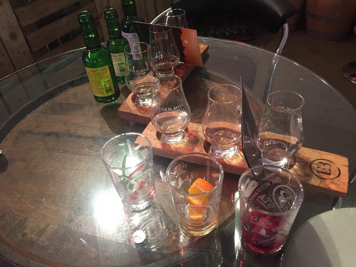 Alles vorbereitet für das Gin Tasting bei Eden Mill
