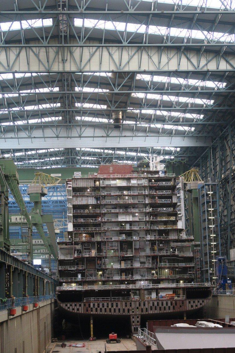 So sieht ein Schiff während des Baus aus - zusammengesetzt wird später