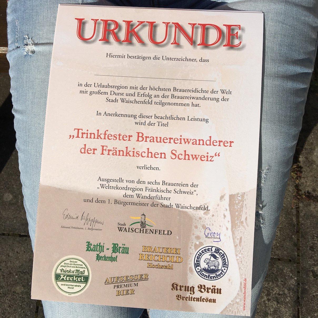 Unsere Urkunde nach 16 km und 6 Brauereien auf dem Brauereiwanderweg Waischenfeld - Aufseß in der Fränkischen Schweiz