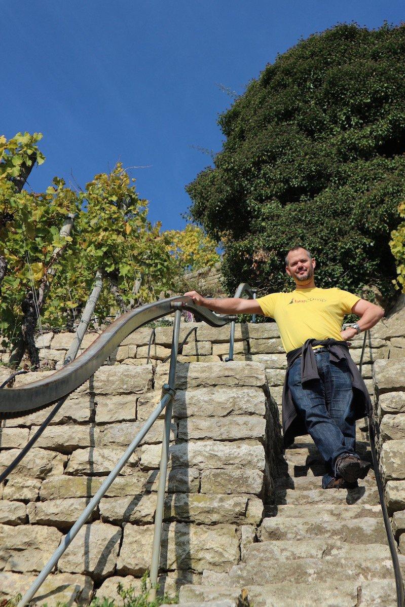 Hubert Mayer aka travellerblog im Weinberg unterhalb der Käsbergkanzel (Foto: Gesine Hermann)