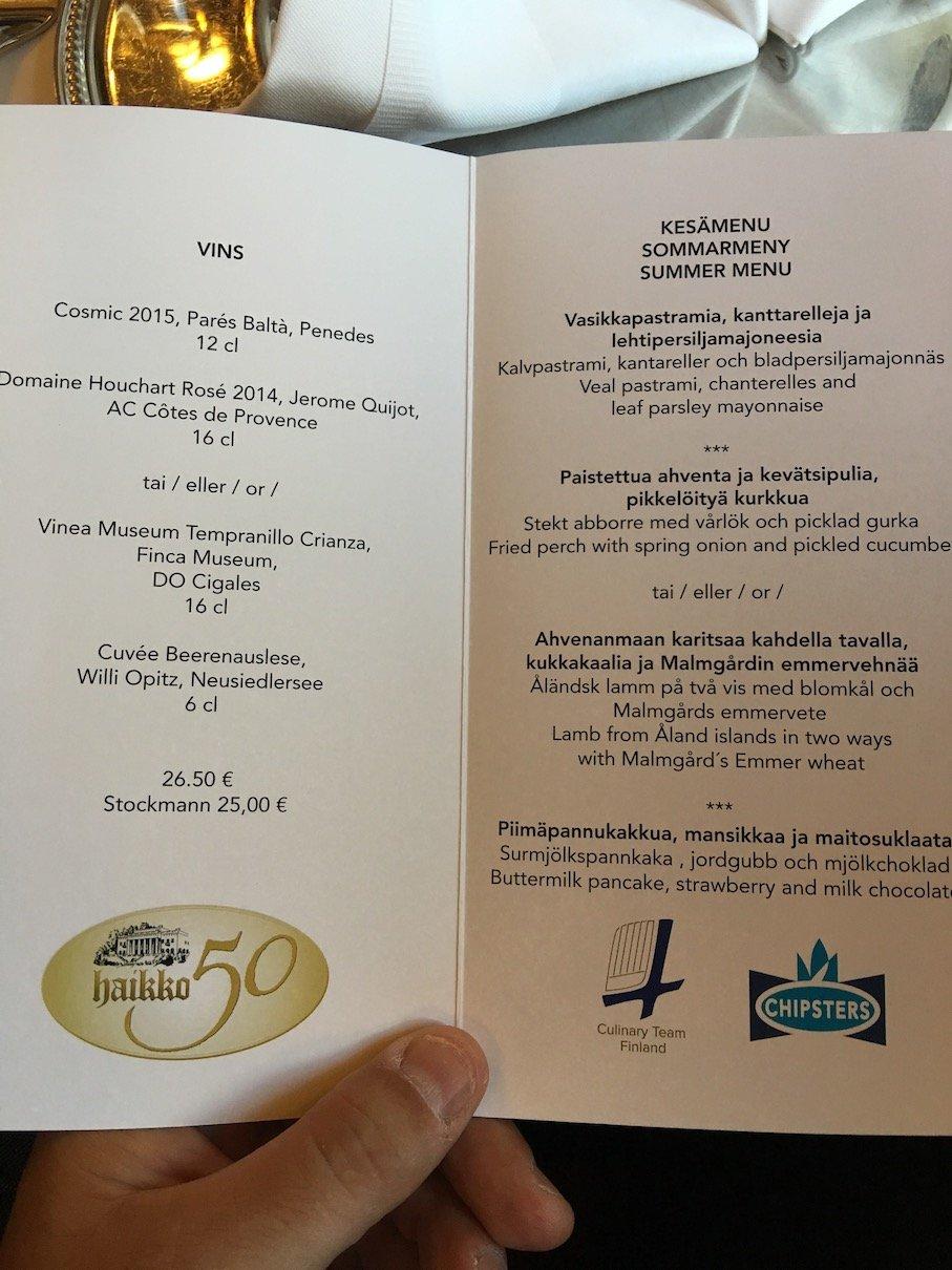 Speisekarte für unser Dinner im Hotel Haikko