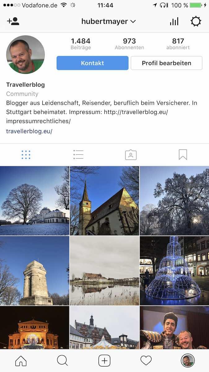 Mein Profil bei Instagram