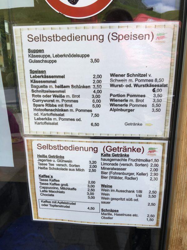 Speisekarte für den Imbiss Wälder Metzge