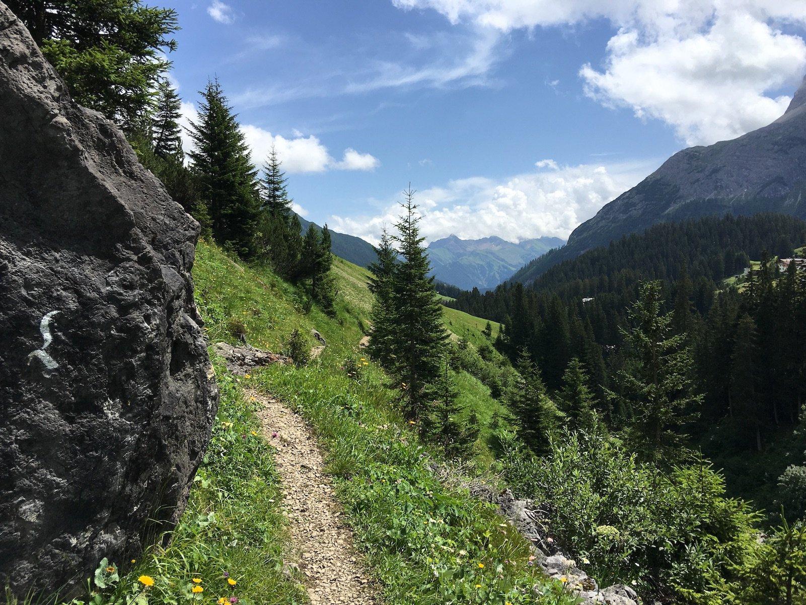 Am Hang entlang geht es nach Gehren zum Gehrnerhof