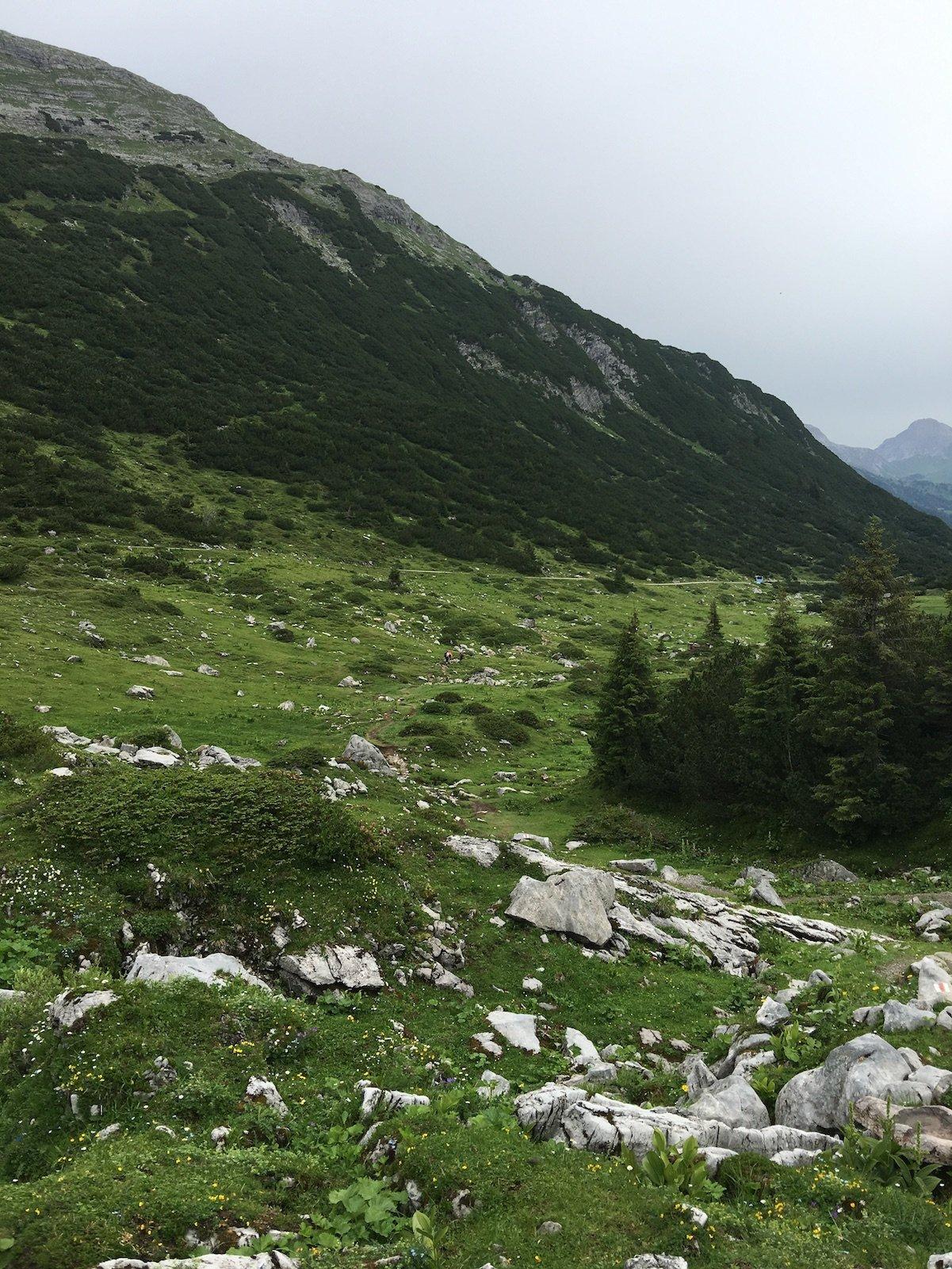 Herrliche Landschaft auf der ersten Etappe des Lechwegs vom Formarinsee nach Lech