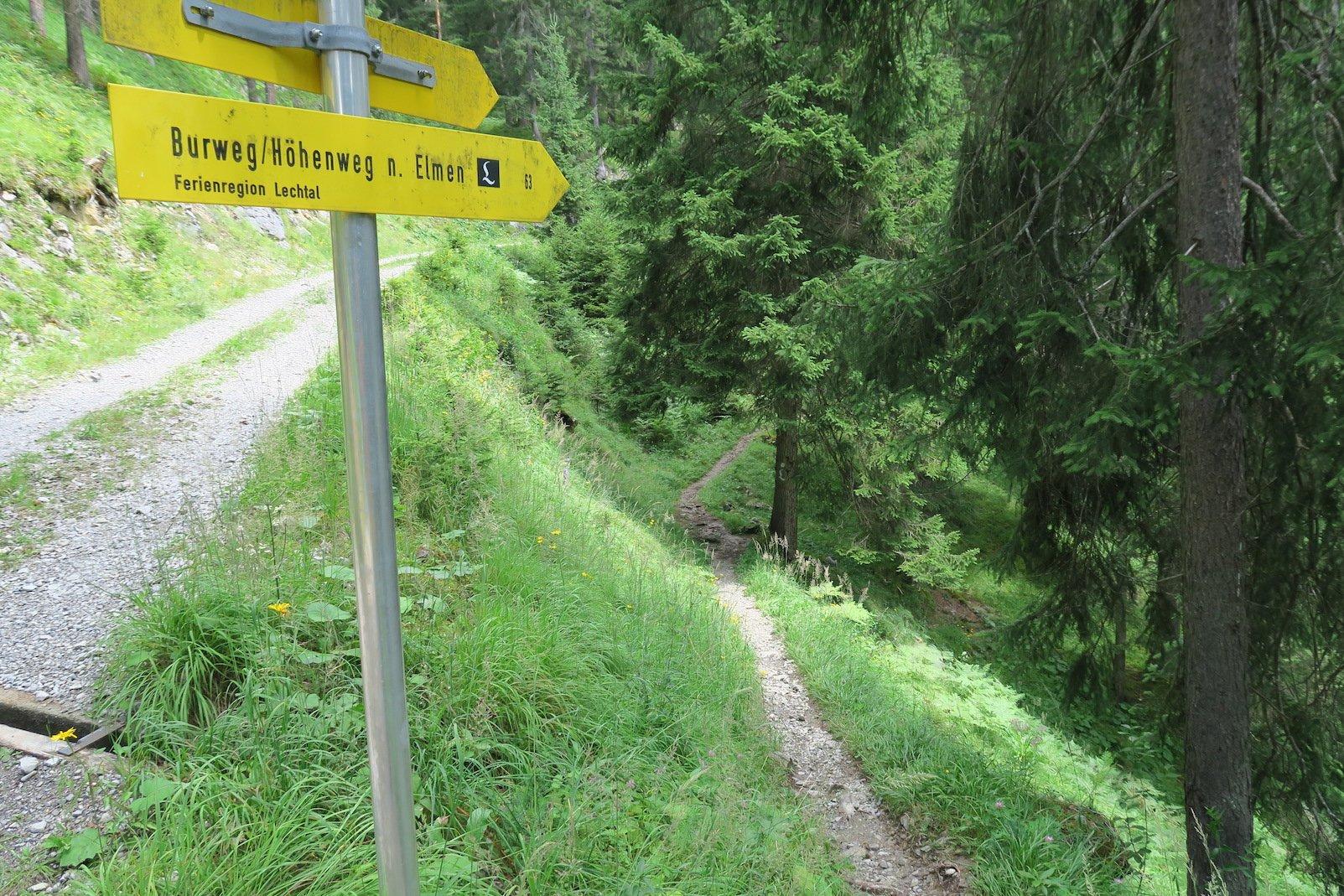 Abzweigung - weg vom breiten Weg, runter auf den Pfad