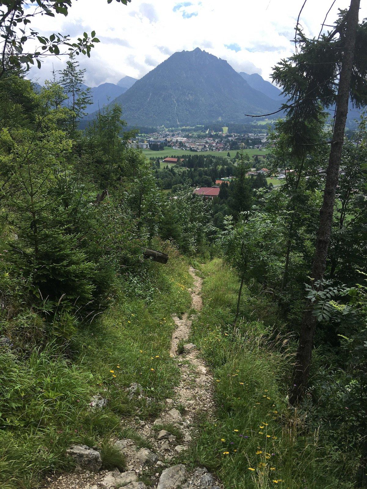 Ein schmaler Pfad führt abwärts auf dem Lechweg