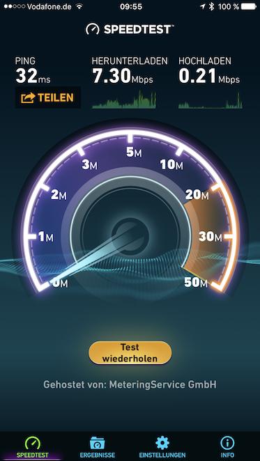 """Screenshot von der WLAN Leistung gemessen mit der App """"Speedtest"""""""