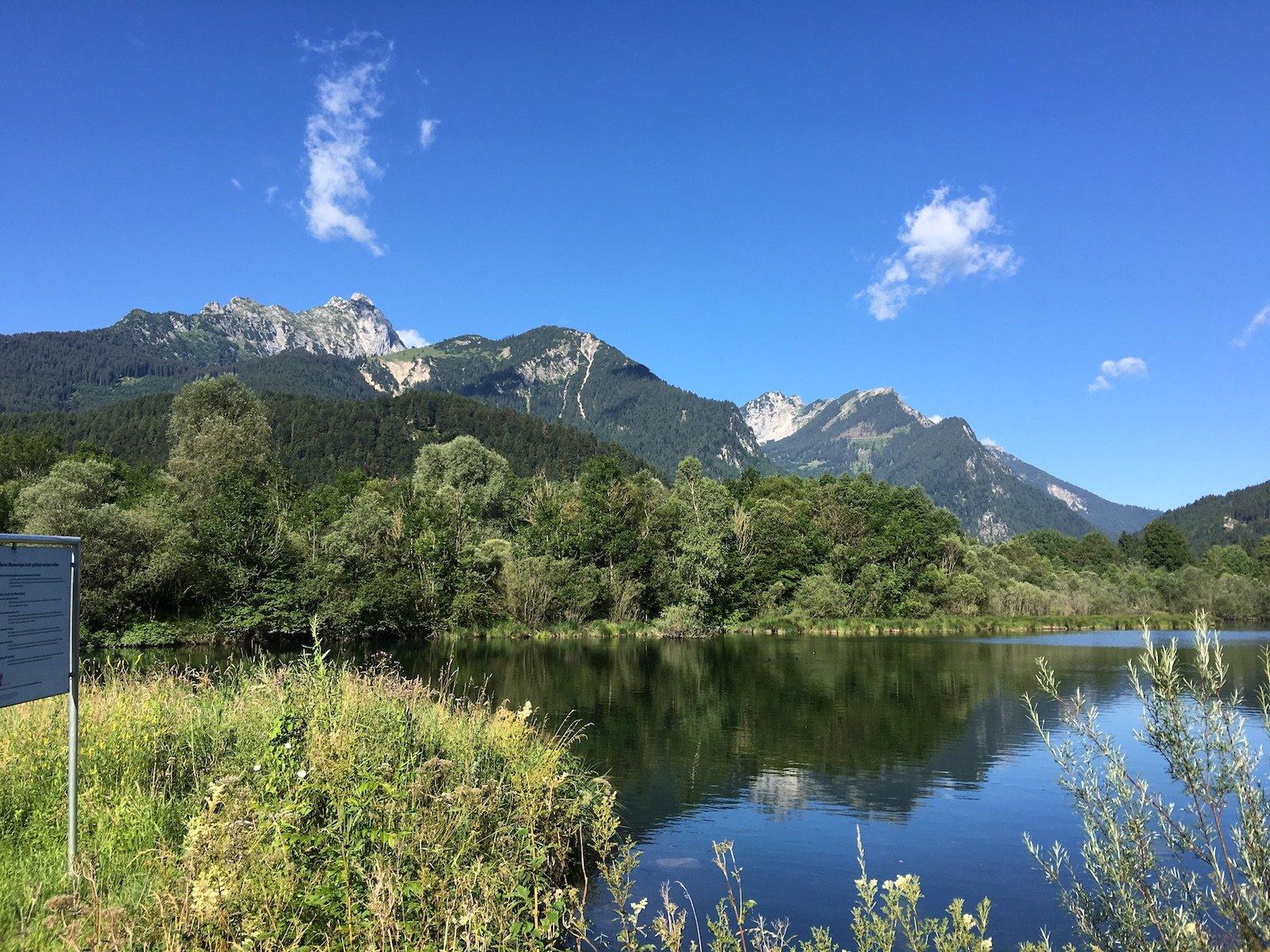 Herrliches Panorama zu Beginn der 8. Etappe des Lechwegs in Pflach