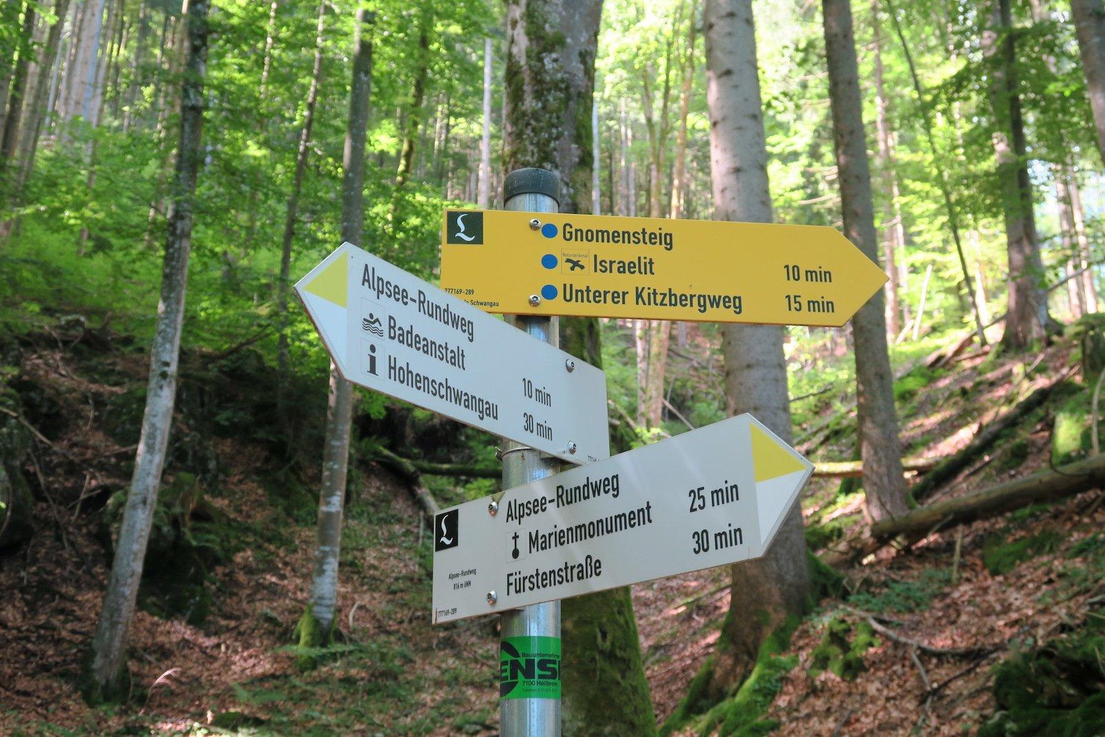 Wegweiser Alpsee-Rundweg