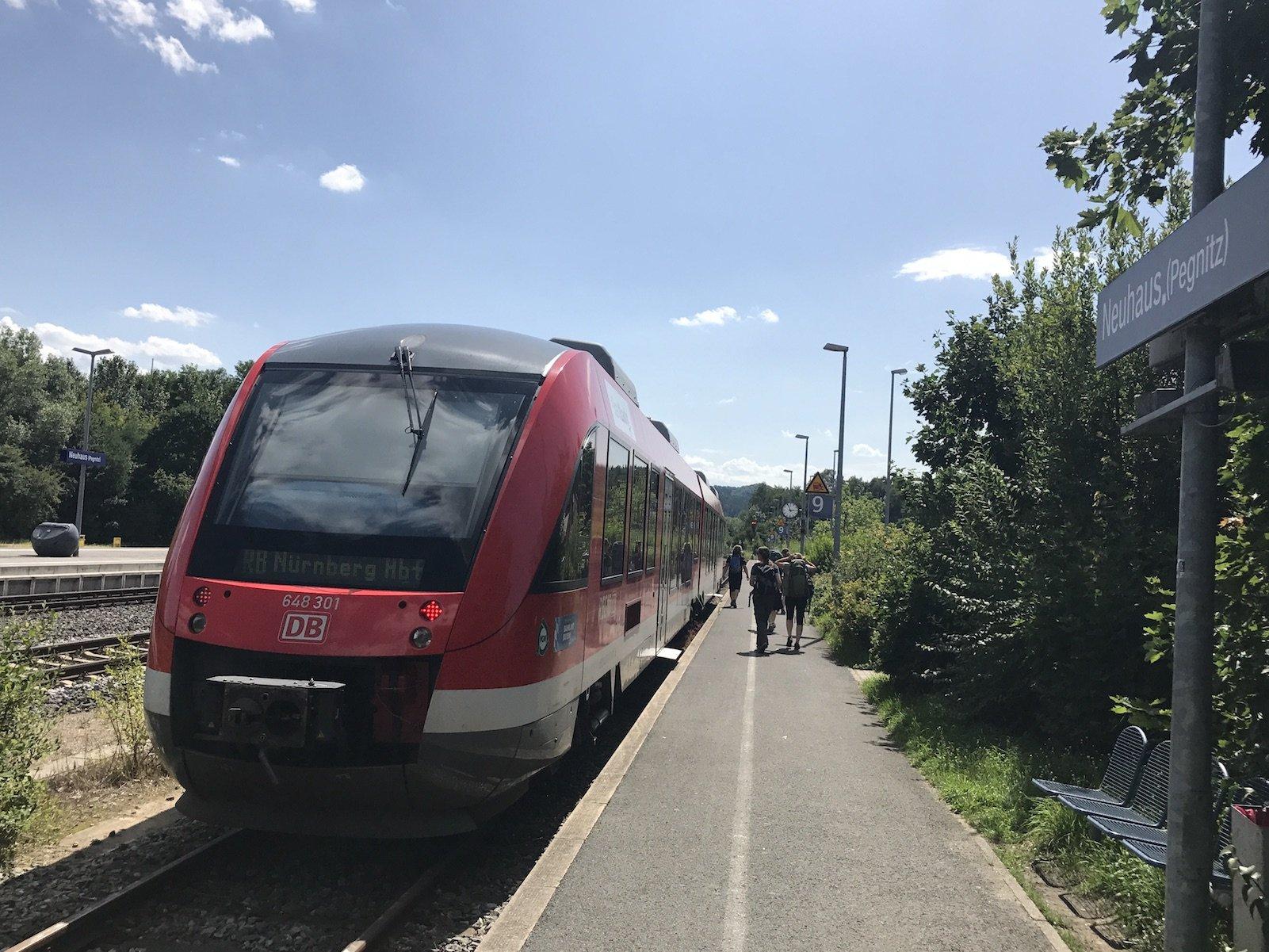 Unsere Regionalbahn zurück nach Nürnberg
