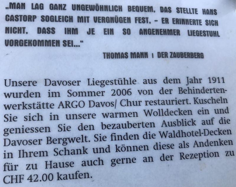 Information zu den Liegen aus dem Jahr 1911 im Waldhotel Davos