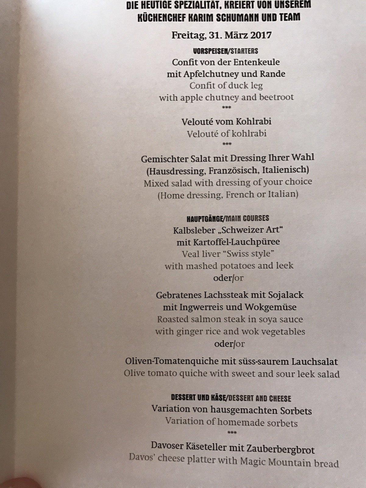 Menüauswahl am ersten Abend im Waldhotel Davos