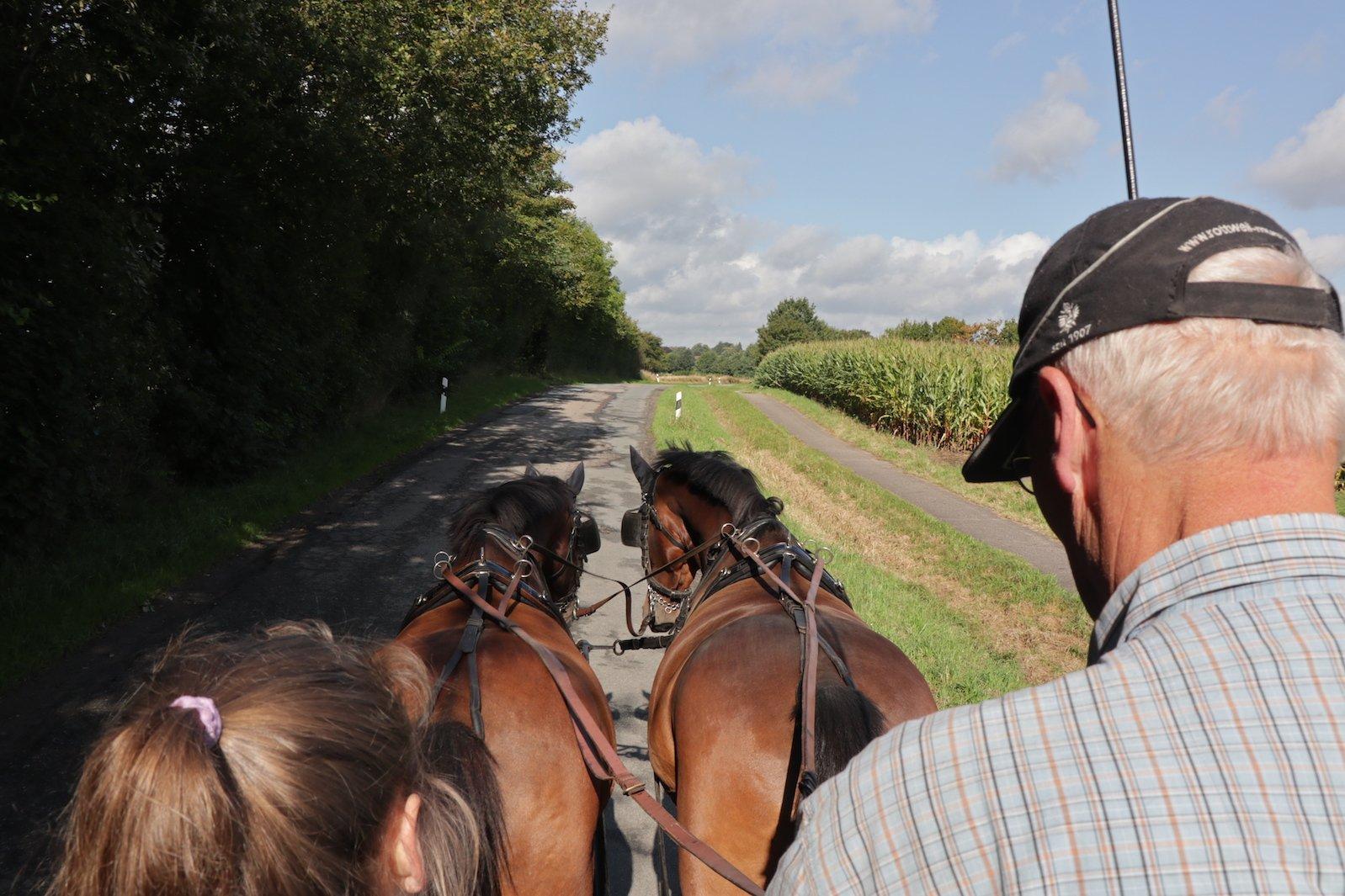 Kutscher, zwingend erforderlicher Beifahrer (hier die Tochter) und die Pferde