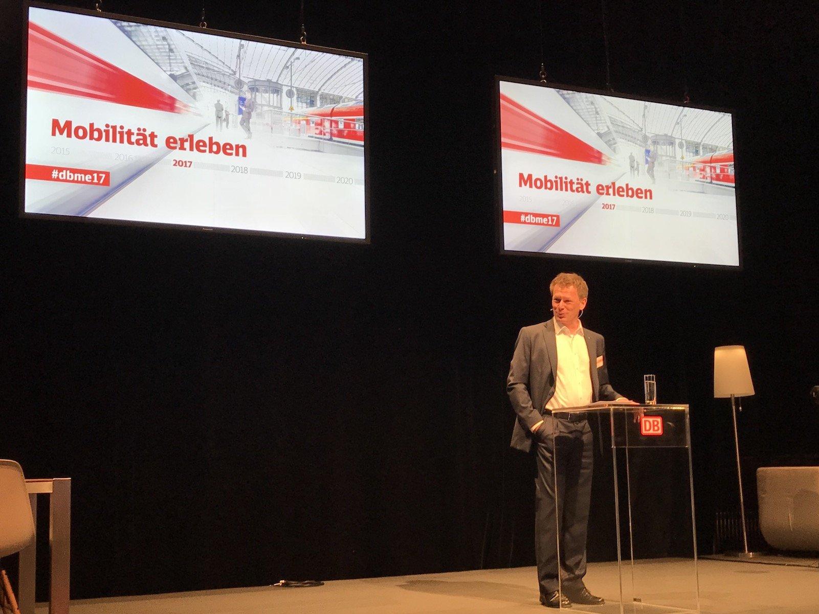 Dr. Lutz, Vorstandsvorsitzender der Deutschen Bahn AG, beim #DBME17 in Berlin