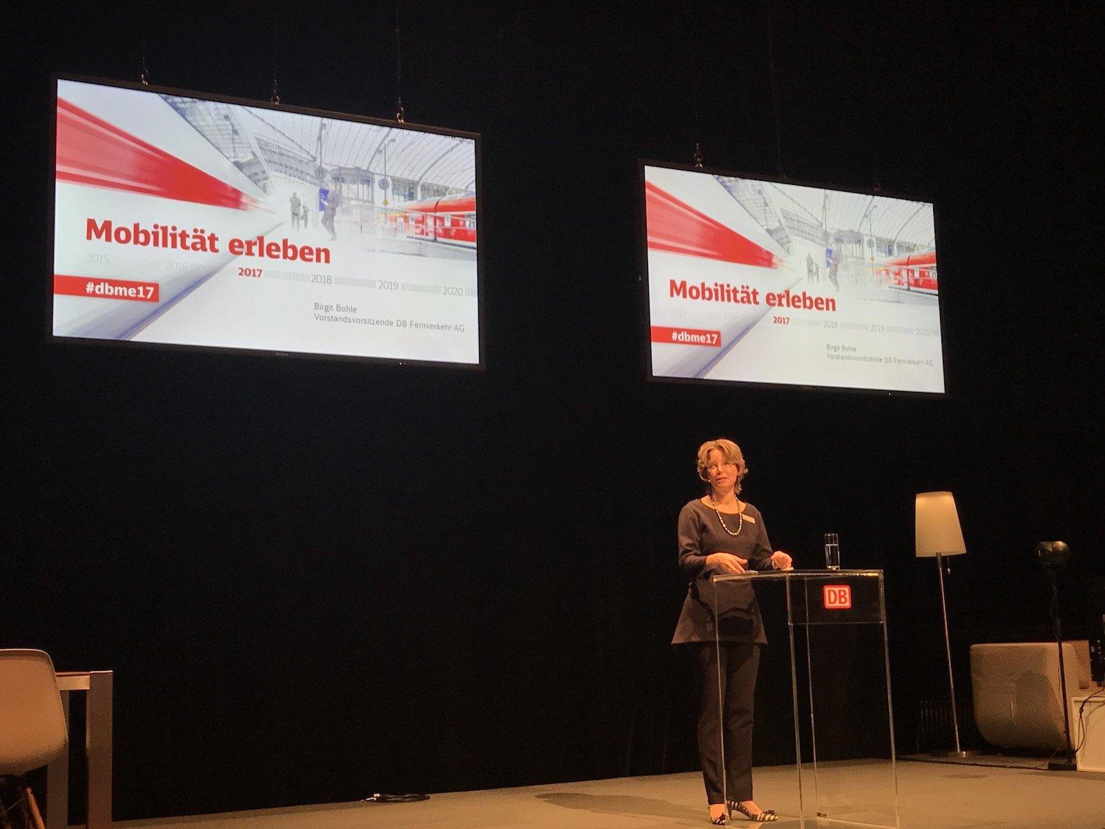 Birgit Bohle, Vorsitzende des Vorstands DB Bahn Fernverkehr, bei Ihrer Rede in Berlin beim #DBME17