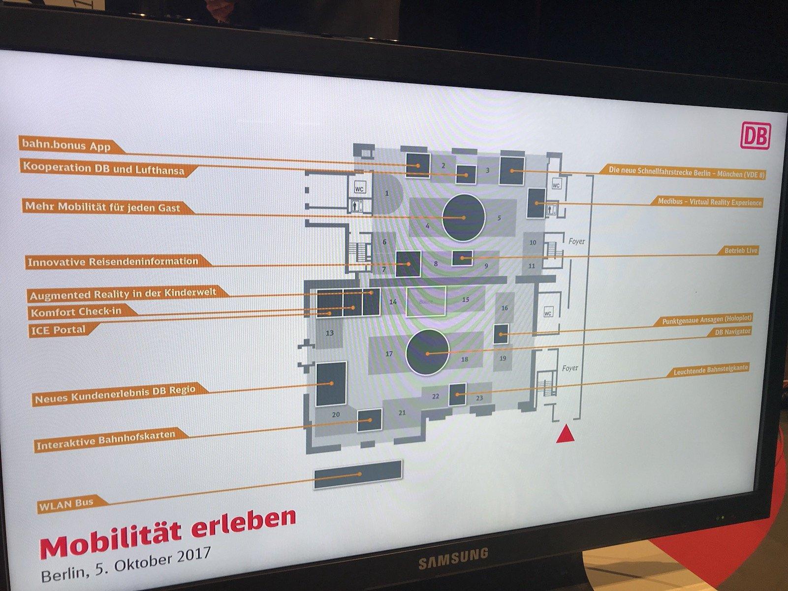 Übersicht über die Stationen mit Neuigkeiten bei der Bahn auf dem Event #DBME17 in Berlin