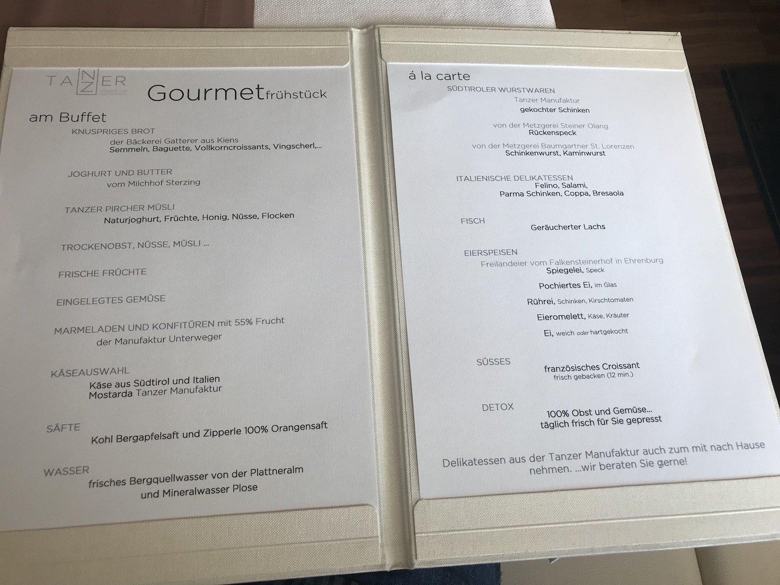 Frühstückskarte im Boutique Gourmet Hotel Tanzer