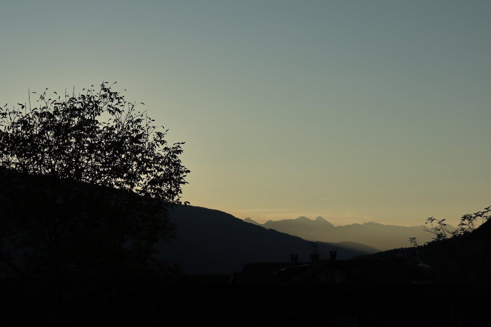 Sonnenuntergang auf der Terrasse des Hotels Tanzer mit der EOS M6