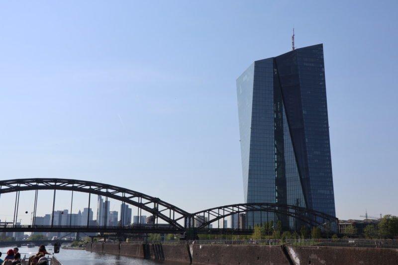 EZB und Frankfurt Panorama in der Ferne